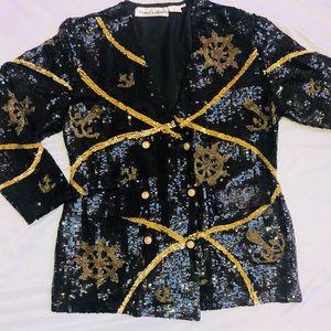 Jackets & Blazers - Silk & Sequined Black & Gold Jacket Sz M